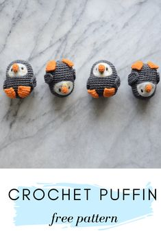 FREE crochet puffin amigurumi pattern and photo tutorial. FREE crochet puffin amigurumi pattern and photo tutorial.Pocket Sized Puffin - free crochet pattern from Picot Pals.I recently finished up my first 'batch' custom order– a bunch of cute tiny Crochet Diy, Crochet Amigurumi Free Patterns, Crochet Animal Patterns, Stuffed Animal Patterns, Crochet Crafts, Crochet Dolls, Yarn Crafts, Crochet Projects, Knitting Patterns