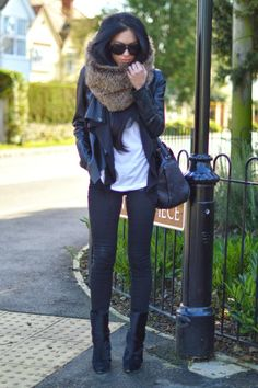 Butter Soft - Lydia Elise Millen wearing H&M Jeans, Cos Tee, Zara Snood and Alexander Wang Bag.