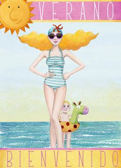 Welcome to the summer in The Canary Islands! Spanish Posters, Classroom Pictures, Beach Images, Whimsical Art, Cute Illustration, Figure Painting, Cute Art, Illustrations Posters, Artsy