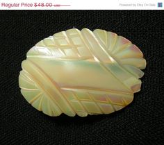Antique Carved Shell Brooch Arts & Crafts Mother of Pearl.