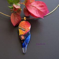 Organic Abstract Handmade Dichroic Glass Pendant Jewelry Multi-colored | Umeboshi - Jewelry on ArtFire