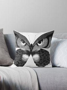 'Owl Butterfly' Throw Pillow by Rockyvillaruel Kilm Pillows, Throw Pillows Bed, Decorative Throw Pillows, Decor Pillows, Pillow Set, Owl Pillow, Pillow Covers, Pillow Inspiration, Pillow Ideas