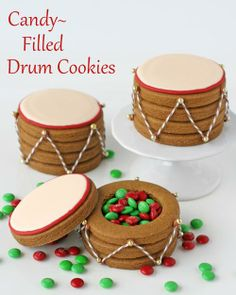 Candy Filled Drum Cookies - by Glorious Treats - can be done as a treasure chest!