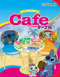 "100% Japan Re-ment Disney character "" Stitch Cafe Table & Chair "" Set"