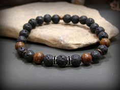 Mens Beaded Bracelet, Black Bracelet, Lava Rock Bracelet, Mens Jewelry, Stretch Bracelet, Native American, Rustic Bracelet, Bracelet for Men