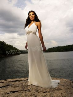 Chiffon halter Neckline Empire Waistline Column Wedding Dress