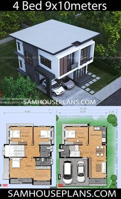 House Plans Idea with 4 Bedrooms - Sam House Plans nuevo diseño Model House Plan, House Layout Plans, Duplex House Plans, Family House Plans, Dream House Plans, Small House Floor Plans, House Layouts, House Plans Design, 2 Storey House Design