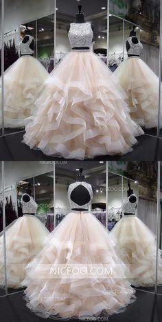 Two Pieces Round Neck Sleeveless Champagne Prom Dresses Best Evening Dresses #champagne  #prom  #evening #neck  #round