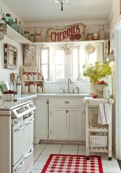 Red! White. Canisters. Subway tiles. Shelves