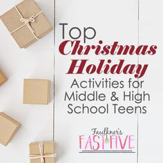 TOP CHRISTMAS HOLIDAY LESSONS FOR MIDDLE OR HIGH SCHOOL TEENS The excitement is in the air, the carols are playing, the trees are going up: It's Christmas! What a wonderful time of year for celebrations. If you are like me, though, you want to be sure that you are still keeping your class contained and working on something skills-based. Here are few Christmas holiday lesson and activity ideas I've found that I love for middle and high school teens for all subjects!