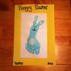 Easter craft for kids! Use child's footprint for the bunny's body and thumb prints for the bunny's ears! by ashleyw