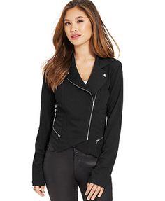 Material Girl Juniors' Exposed-Zipper Moto Jacket