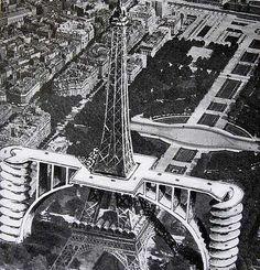 En 1936, André Basdevant présente un projet prévoyant la construction de deux rampes en béton pour permettre aux voitures d'accéder au restaurant du monument.