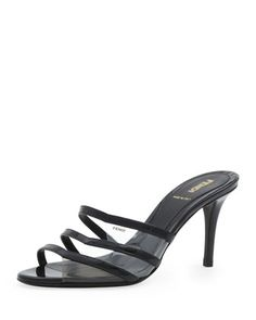 Fendi Patent Leather & PVC Slide Sandal, Black/Smoke/Nude - Bergdorf Goodman