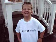 """Here is Austin sportin the """"i run on insulin"""" t-shirt! It was a big hit! Austin was diagnosed on Dec 3rd of 2010 which was also his 5th birthday. We are now on an insulin pump which makes it much easier to control and manage. More here: https://www.facebook.com/pumpwear"""