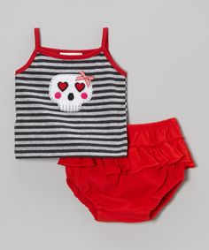 This Silver Skull Camisole & Red Ruffle Bloomers - Infant by Victoria Kids is perfect! #zulilyfinds