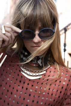 Gretchen Jones in Cheap Monday glasses and a top from her line. | Photo by Refinery29