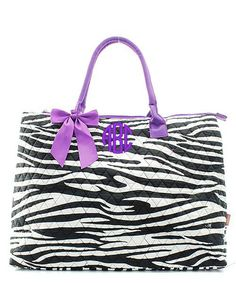 """Personalized Zebra Purple 21"""" Quilted Tote Bag"""