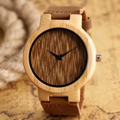 Light Hand-made Wooden Watch Nature Maple Wood Quartz Wristwatches with Genuine Leather Band for Men Women