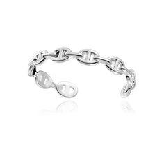"Chaîne d'Ancre Enchaînée Silver Cuff Bracelet - MM Size Hermes bracelet in silver, MM size 2"" diameter"