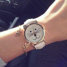 Lovely Cute Cat Watches Women Girls Gold Wristwatch Jelly Color PU Leather Bracelet Watch For Women Quartz-watch reloj mujer Trendy Watches, Cute Watches, Elegant Watches, Beautiful Watches, Watches For Men, Casual Watches, Wrist Watches, Cat Ideas, Cat Watch