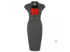 94388d9ce6fb LINDY BOP RETRO DÁMSKÉ POUZDROVÉ ŠATY Wynona černé S PUNTÍKY. Retro  pouzdrové šaty ve stylu 50.let z dílny britské značky LINDY BOP nikdy  nevyjdou z módy.