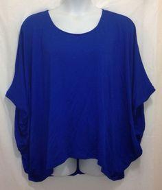 LANE BRYANT Top 18 20 Blue 3/4 Sleeve Batwing Rayon Plus Solid #LaneBryant #KnitTop