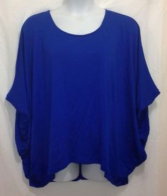 LANE BRYANT Top 18 20 Blue 3/4 Sleeve Batwing Rayon Plus Solid #LaneBryant #KnitTop