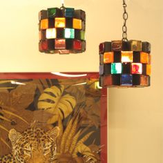 2 Mid Century multicolored Glass Block & Painted Iron Mexican pendant lights, now available at Lucas Street Antiques Dallas open 7 days