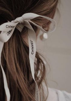 Ribbon Hair Ties, Hair Ribbons, Beauty Makeup, Hair Makeup, Clothing Packaging, Mid Length Hair, Chanel Earrings, Aesthetic Hair, Chanel Fashion