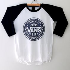 Vans Shirt Classic Streetwear Baseball T-Shirt 3/4 Long Sleeve Men Women T shirts Size S M L