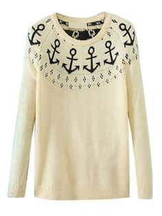 Beige Anckor Graphic Sweater | Choies