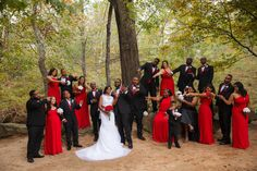Great shot of this black and red bridal party