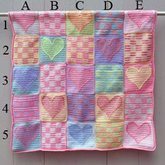 Free Crochet Patterns for Baby Afghans, Blankets, Blocks, and Squares: Heart Sampler Patchwork Baby Afghan Crochet Afghans, Motifs Afghans, Crochet Quilt Pattern, Crochet Heart Blanket, Baby Afghans, Tapestry Crochet, Crochet Baby, Crochet Patterns, Crochet Stitches
