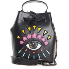Kenzo Kenzo Eye Embroidered-Leather Mini Bucket Bag ($355) ❤ liked on Polyvore featuring bags, handbags, shoulder bags, nero, mini shoulder bag, embroidered leather purse, genuine leather handbags, leather shoulder handbags and chain shoulder bag