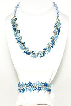 Vintage Signed Coro Pegasus Shades of Blue Enamel Leaf Design Demi Parure lBracelet and Necklace Set by VintageMeetModern, $60.00