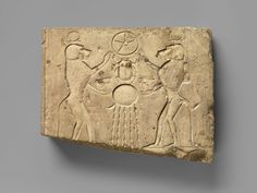 "awesomepharoah: "" Relief panel showing two baboons offering the Wedjat eye to Khepri, ca. 400–200 B.C.E, Late-Ptolemaic period """