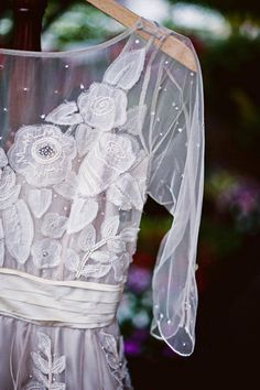 BHLDN wedding dress with lace flowers