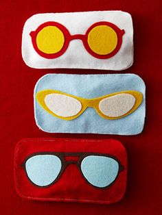 felt eyeglass case--perfect for her glasses, but I'll have to find a more awesome graphic than this. Superhero mask?