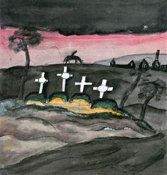 Jāzeps GROSVALDS | Latvian | Latvia 1891 –  Paris, France 1920 | Post-Impressionism, Modernism. Kai (Graveyard), 1917
