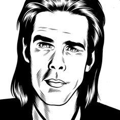 Nick Cave (Ink on Paper, 2009) by Charles Burns