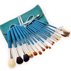 17 Pcs Sky-blue Professional Goat Hair Brush Set|17 Pcs Sky-blue Professional Goat Hair Brush Set Included: Blush Brush x 2 Foundation Brush x 1 Contour Brush x 1 Eye Shadow Brush x 6 Concealer Brush x 2 Lip Brush x 1 Eyebrow Brush x 2 Eye Liner Brush x 1 Eyelash Brush x 1