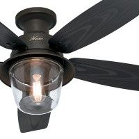 "52"" Outdoor Damp Rated New Bronze Finish Ceiling Fan with Clear Glass Light Kit. This 52"" New Bronze Finish fan delivers a powerful cooling air flow to any size indoor room with its 3 Speed WhisperWind® motorDamp Rated Outdoor Fan that can be installed in covered areas5 Grey Oak BladesClear Glass Globe Included3"" Downrod Included This ceiling fan was originally returned to Hunter Fans for reasons like buyer's remorse, damaged box, etc. and will arrive in a plain brown mail order…"