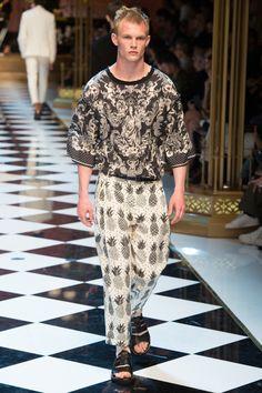 Alijah Harrison for Dolce & Gabbana Spring 2017 Menswear Fashion Show.
