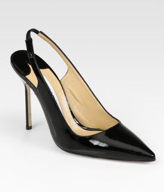 patent leather slingback shoes pics | Manolo Blahnik Patent Leather Point Toe Slingback Pumps in Black ...