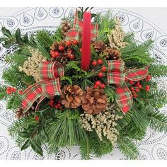 @Overstock - Balsam, candle, holly, berries, plaid ribbon, dried statice Plaid holly berries Dimensions: 16 inches high x 16 inches wide x 5 inches deephttp://www.overstock.com/Home-Garden/Fresh-Balsam-Candle-Centerpiece-with-Plaid-Holly-and-Berries/6338240/product.html?CID=214117 $26.99