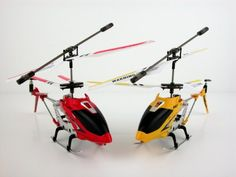 S107G 3 Channel Mini Indoor Co-Axial Metal RC Helicopter w/ Built in Gyroscope (Red  Yellow) Set of 2 buy now with latest deals offer price