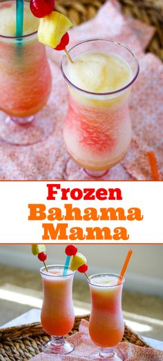 A Frozen Bahama Mama is just one of the many drinks you can have delivered to you poolside while on your Caribbean cruise with PrincessCruises. And if you can t go cruising, the next best thing to being there is to make this easy recipe at home! Malibu Rum Drinks, Coconut Rum Drinks, Liquor Drinks, Fun Drinks, Yummy Drinks, Champagne Drinks, Bourbon Drinks, Alcoholic Drinks To Make At Home, Best Drinks