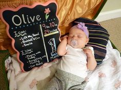 Monthly Baby Milestone Chalkboard, Hand Painted & Resuable - Great for photo props, pictures, newborn, baby update, custom for free