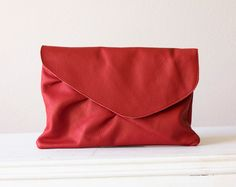Oversized leather clutch in Red. $92.00, via Etsy.